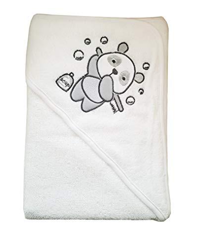 Toalla de baño con capucha, diseño de oso panda y oso de lavado, 70 cm x 70 cm, color blanco