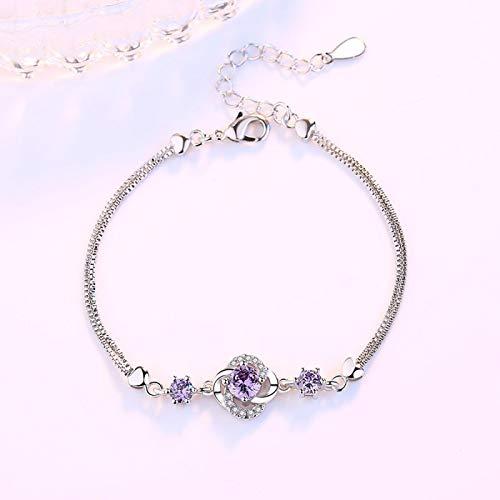 Pulsera de plata de ley 925 para mujer joyería de moda púrpura cristal circón cuatro hojas trébol flor pulsera longitud púrpura