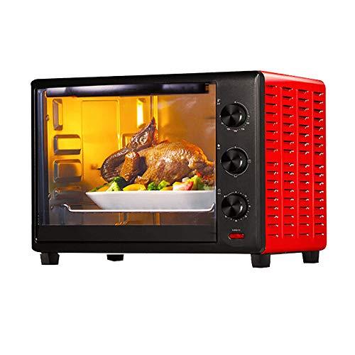 Horno Calentamiento Rotativo 1600 W,Horno Pizza Mesa,Control Temperatura Ultraalta 250 °,Mango Simple Resistente A Altas Temperaturas, FáCil De Limpiar,Con Parrilla Giratoria Horquilla,Rojo