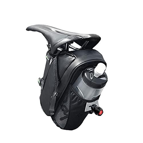 LZQpearl Borsa Sella Bicicletta, Borsa da Sella Impermeabile per Bici, Borsa Sottosella Portatile con Portaborraccia, Borsa Portaoggetti per MTB Bici da Strada di Montagna (Black)