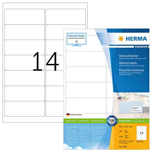 HERMA 4678 Adressaufkleber DIN A4 (99,1 x 38,1 mm, 100 Blatt, Papier, matt) selbstklebend, bedruckbar, permanent haftende Universal Etiketten, 1.400 Klebeetiketten, weiß