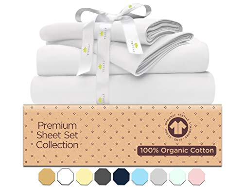 Organic Cotton Bed Sheets Set - 500TC King Size Ultra White - 4 Piece Bedding - 100% GOTS Certified Extra Long Staple, Soft Sateen Weave Bedsheets - Fits 15' Deep Pocket Mattress