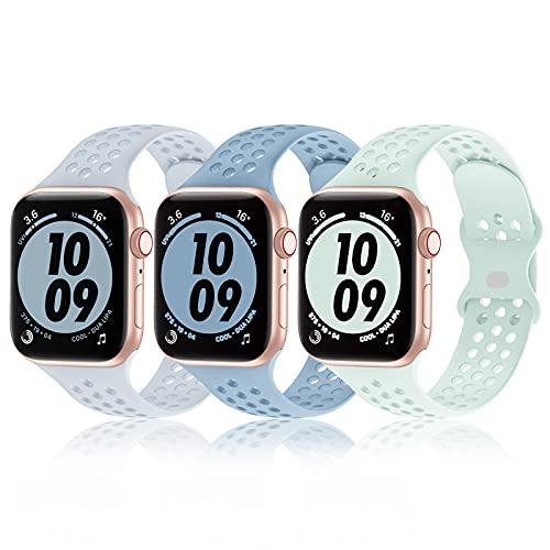 Bandiction Paquete de 3 bandas deportivas compatibles con Apple Watch de 38 mm, 40 mm, 42 mm, 44 mm, para hombres y mujeres, correa de silicona de repuesto para iwatch SE/Series 6/5/4/3/2/1