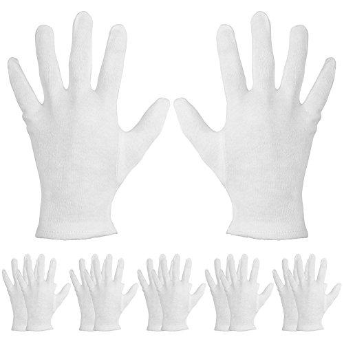 12×Chytaii Handschuhe Baumwolle Handschuhe Trikothandschuhe Arbeit Handschuhe für Schiedsrichter Ehrengarde Arbeiter Weiß