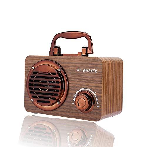Denash Retro Speaekr, Altavoz Inalámbrico Bluetooth Vintage de Madera Reproductor de Música Portátil al Aire Libre Caja de Altavoz de Sonido Estéreo de 360 °(Grano de Madera del Suelo)