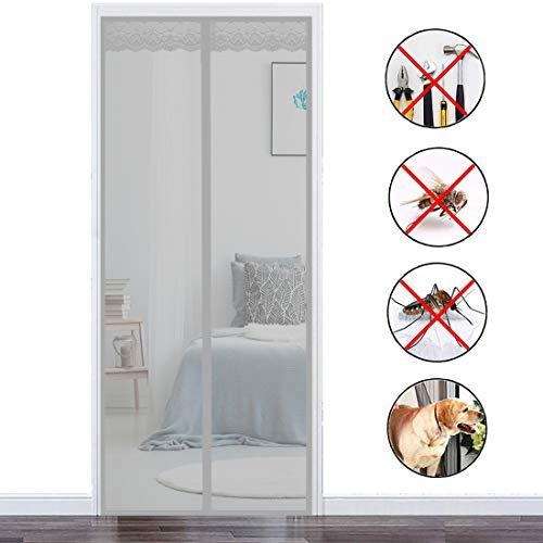 THAIKER Mosquitera Imanes Magnetica, 80x210cm(31x83inch) Mosquiteras Enrollables Magnética Automático Anti Insectos Moscas y Mosquitos para Puertas Correderas, Gris
