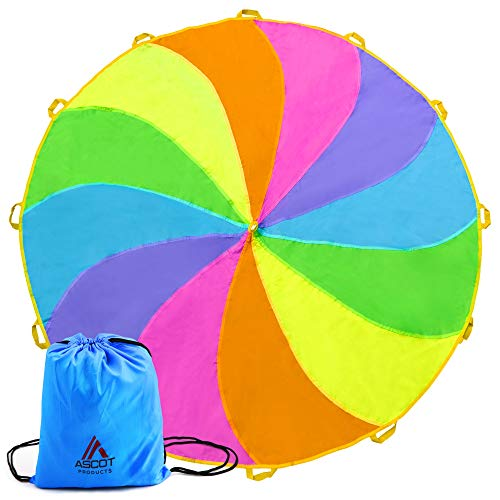 Ascot Products   Parachute for Kids 12 ft 12 Handles Rainbow Parachute Indoor Outdoor Games Toy Play Parachute Trampoline Tent Cover Gymnastic Trampoline for kids party game Parashoot