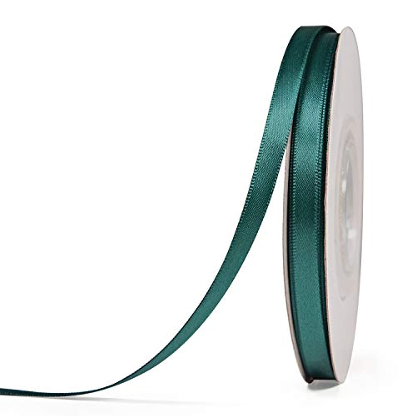 YAMA Double Face Satin Ribbon Roll - 1/4 Inch 25 Yards for Gift Wrapping Ribbons Decorations DIY Crafts Arts, Teal
