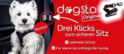 Dogsto Hunde Sicherheitsgurt für jedes Auto mit mittiger Befestigung am Sicherheitsgurt - Ideale Sitzposition
