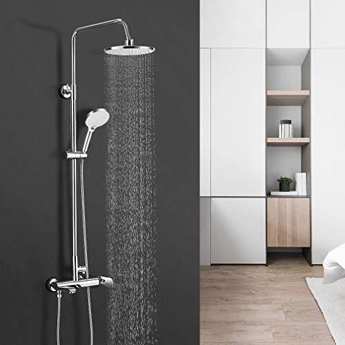 BONADE Duschsystem mit Armatur Duscharmatur Verstellbare Duschstange aus 304 Edelstahl inkl. 9 Zoll Kopfbrause Handbrause Badewannenarmatur Duschsäule (Duschset mit Duscharmatur Rund Ø 23cm)