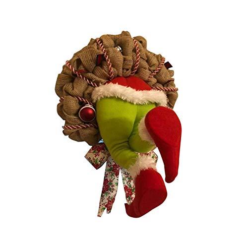 HANDON Thief Garland Navidad Colgante Puerta Guirnalda Sala de Estar Chimenea Decoracin de Ventana Lino Simulacin Crculo Decoracin Colgante Enlace Adornos de da