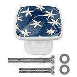 Juego de 4 pomos para aparador de 1,18 pulgadas de cristal con botones para cajones de cocina, aparadores, armarios, armarios, flores blancas, fondo azul marino