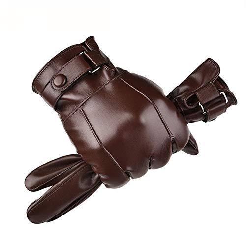 Xu-wang123 Invierno cálido Impermeable Hombres de Piel sintética Guantes de conducción Guantes de Cuero Delgados for Pantalla táctil (Color : A Brown, Gloves Size : One Size)