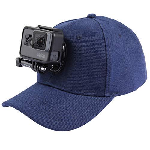 runfon Fotocamera Cappello da Baseball Regolabile Tappo Cappello da Baseball con Fibbia a sgancio rapido Supporto Galleggiante per GoPro Action Camera Blu Scuro Blue