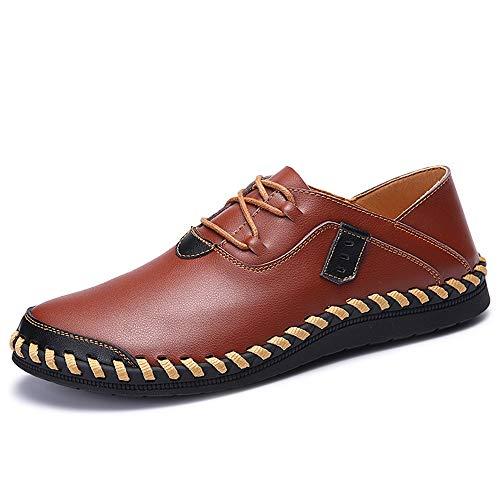 Casual Oxford para los hombres Masines de la moda Encaje Encaje un resbalón cómodo en Pisos Zapatos Stitch Cuero Cuero Superior Toe Redondo Resistente a la abrasión ( Color : Brown , Size : 39 EU )
