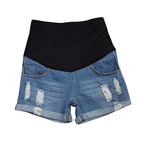 Keephen Femmes Enceintes Shorts en Jean Ajustables Allaitement Abdomen Peinture Splash Trou Cassé Hot Pants