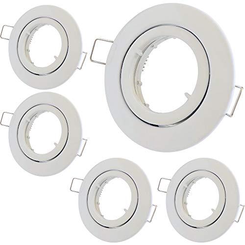 5 x Decken Einbaustrahler 12V inkl. MR16 Fassung Farbe Weiß Einbauleuchte Laura Rund Deckenspot Schwenkbar