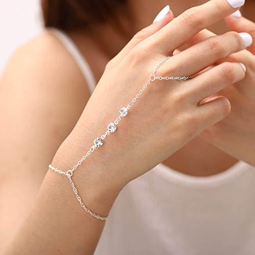 Obmyec Crystal Hand Chain Rhinestone Finger Ring Bracelets Beaded Slave Bracelet for Women and Girls (Silver)