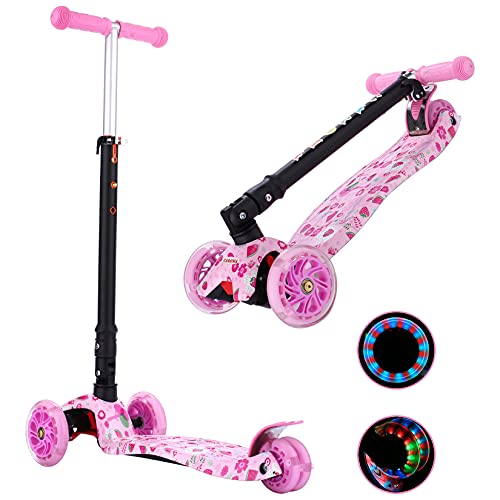 Roller Kinder Scooter,3 Räder Faltbarer Kickscooter,Max.Last 60 kg,4 Höhenverstellbarer,Aluminium Lenker,LED Leuchträdern,rutschfest Deck,Lean-to-Steer,für Kind Junge Mädchen Kleinkinder (Strawberry)