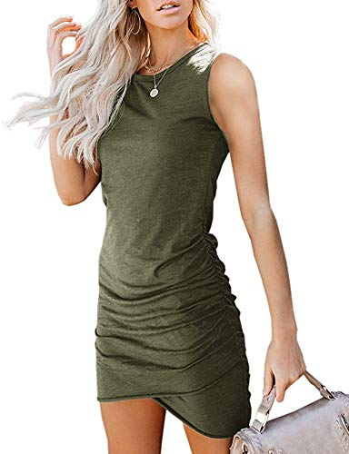 Imysty Womens Casual Crew Neck Ruched Stretchy Sleeveless Bodycon Short Mini T-Shirt Dress