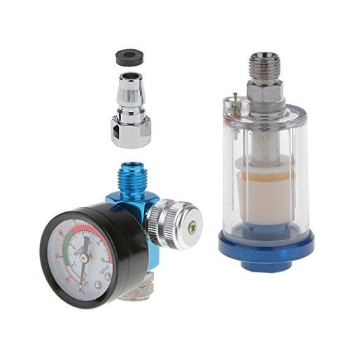 H HILABEE 1/4 Zoll Druckluftfilter Druckminderer Luftregler mit Wasserabscheider für Lackierpistole