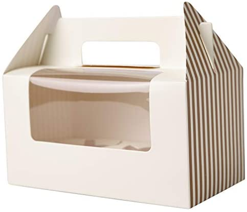 [25pcs] Cupcake Boxes 2 Cavity Containers,ONE MORE Cupcake Holders Carrier for Two with Insert & Handles and PVC Window for Birthday Party (Ivory)