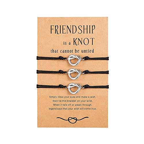 3 Best Friend Friendship Bracelets Gifts Forever Love Knot Infinity Matching Distance Bracelet Jewelry Bridesmaid Friendship Gifts for 3 BFF Women Girls Sisters