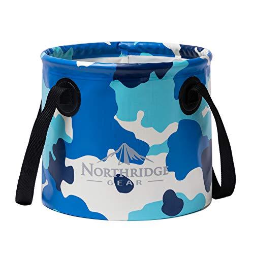 Northridge Gear Cubo Plegable Plegable en diseño Moderno | Camping Pesca Fiesta Jardín | Puede usarse como tazón de Lavado Plegable, Recipiente de Agua o Fregadero Plegable | Camuflaje Azul, 20L