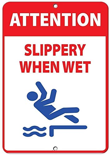 "DKISEE Blechschild aus Aluminium mit Aufschrift ""Attention Slippery When Wet Activity"", 25,4 x 35,6 cm"