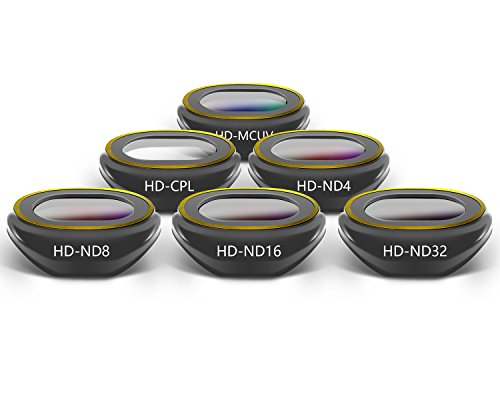 PENIVO Spark Lens Filter Set,6-Pack Camera Filter Multi-Coated HD UV CPL ND4 ND8 ND16 ND32 Filters Kit for DJI Spark Drone Accessories