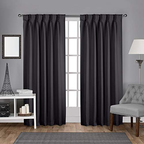 """Exclusive Home Curtains Sateen Twill Woven Blackout Pinch Pleat Curtain Panel Pair, 96"""" Length, Charcoal, 2 Count"""