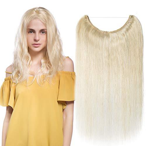 """Extensions Echthaar mit Unsichtbarer Draht Weißblond - Haarverlängerungen Haarteile Glatt Haarverdichtung Keine Clip 16""""-60g"""