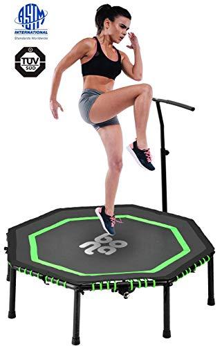 Newbona ReboundersMini Trampolinesfor Adults with Adjustable Handrail Bar-Best Urban Cardio Jump Fitness Workout Trainer – Max Limit 265 lbs(Green)