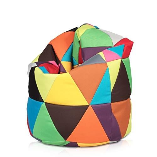 Ecopuf Patchwork Pouf Poltrona Sacco XL Multicolore Puff Design Arredo Moderno per Esterno E Interno Doppie Cuciture Due Misure Disponibili XL 135 X 85 Cm Triangoli in Poliestere