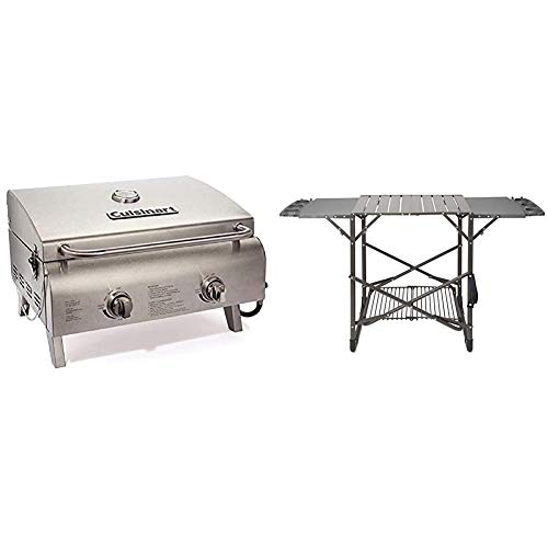 Cuisinart CGG-306 Chef's Style Propane Tabletop Grill, Two-Burner, Stainless Steel & CFGS-222 Take...