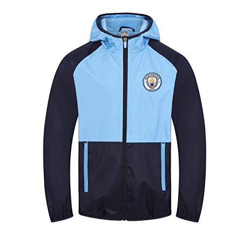 Manchester City FC - Chaqueta Cortavientos Oficial - para Hombre - Impermeable - Azul Marino/Azul Cielo - S