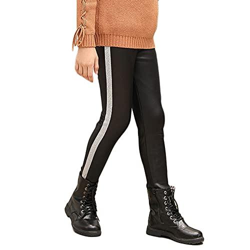 YAOTT Niñas Leggings Térmicos Pantalones de Imitación de Cuero Lápiz Pantalones Invierno Gruesos Elásticos Jeggings Leggins Cintura Elástica Jeggings Leggings,Plata,120