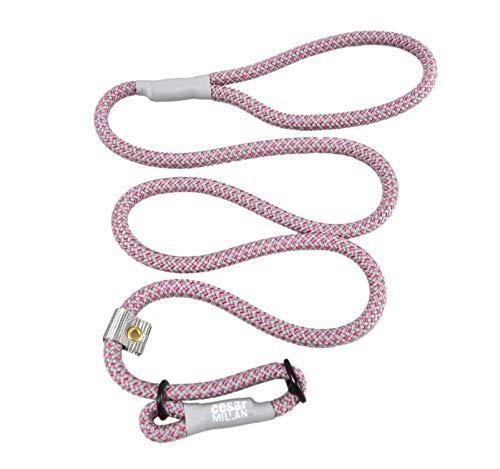 Cesar Millan Leine - Trainingsleine für Hunde - 2in1 Halsband Hund und Leine - Slip Lead - Retrieverleine mit integrierter Halsung- Länge 120cm Durchmesser 1cm Farbe Rosa/Grau