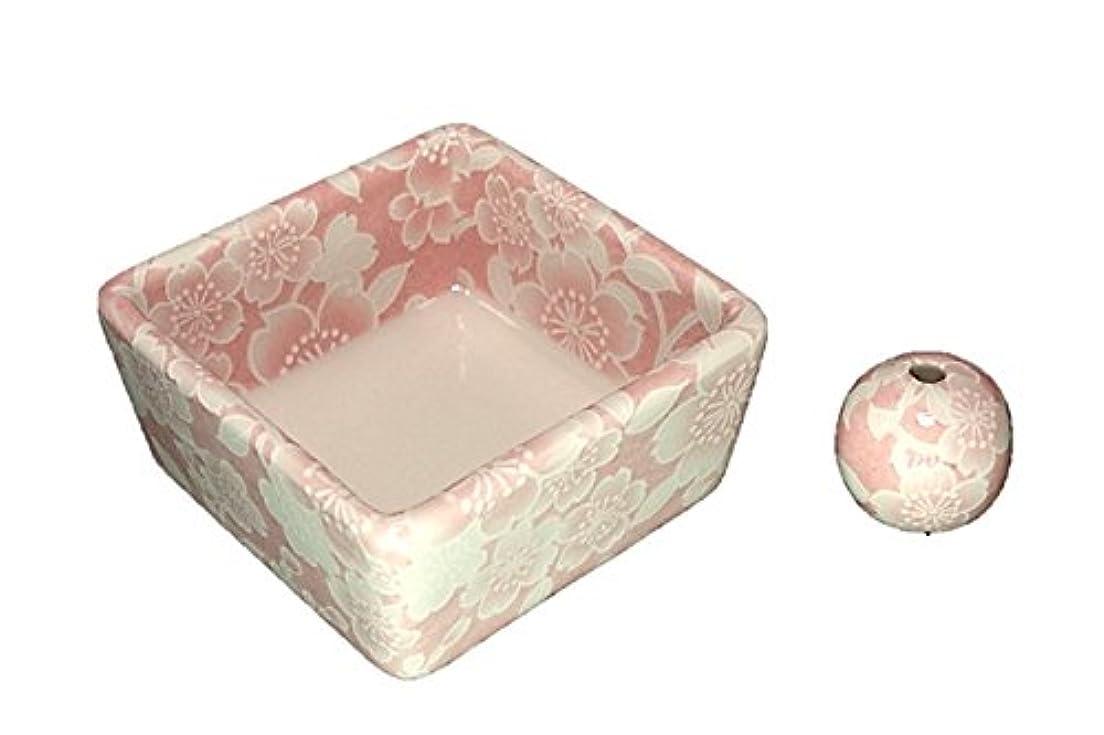 に頼る政府スクラッチ和モダン 桜友禅 ピンク お香立て 陶器 角鉢 製造直売品