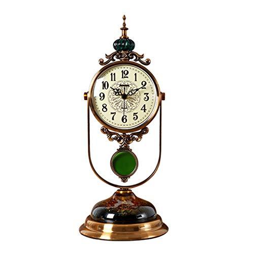 Reloj De Escritorio American Light Disco de lujo Reloj de escritorio Escritorio Escritorio Reloj Salón Reloj de swing Adornos de estilo europeo Creativo Gran Reloj de escritorio silencioso Despertador