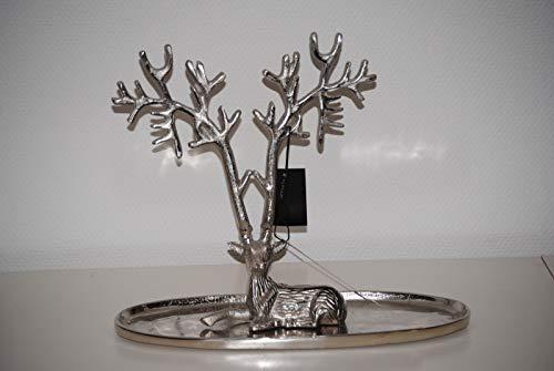Colmore Schale DekoschaleTablett mit Hirsch mit Geweih Alu/Nickel 37 x 14 x32 cm
