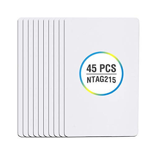 45 Pieces NTAG215 NFC Cards Bulk, DEEDYGO Programmable Blank NFC 215 PVC Cards Compatible with Amiibo and TagMo for All NFC Phone and Devices (ISO Size)