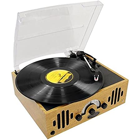 Upgraded Version Vintage Record Player - Classic Vinyl Player, Retro Belt-Drive Turntable With Three Speeds and AM/FM Radio, 45 RPM Adapter - Pyle PVNTTR22