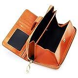 レディース 長財布 ウォレット 財布 ラウンドファスナー BOX型小銭入れ 大容量 RFID&磁気スキミング防止 高級感あり (イエロー)