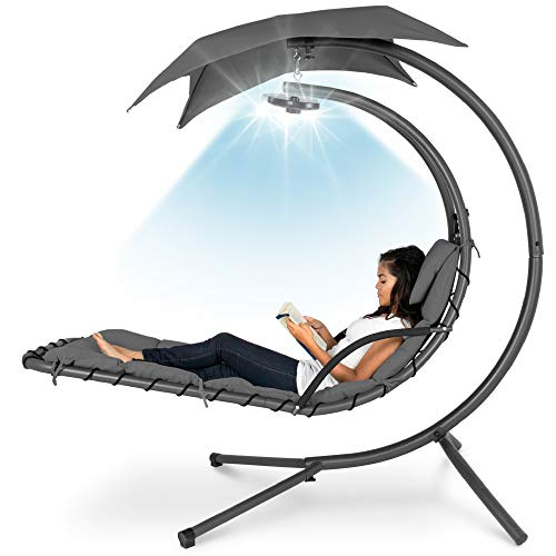Best Choice Products Hanging LED-Lit Curved Chaise Lounge Chair Swing for Backyard, Patio, Lawn w/ 3 Light Settings, Weather-Resistant Pillow, Removable Canopy Shade, Steel Stand - Gray