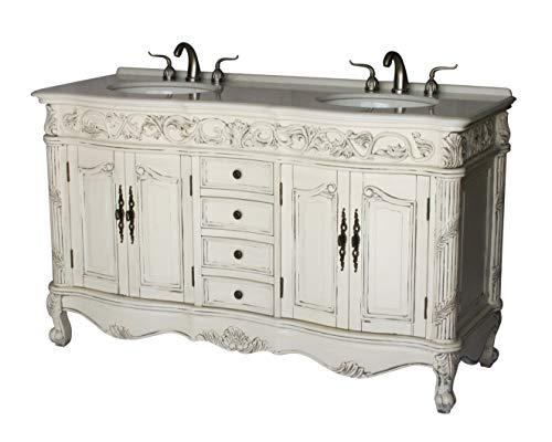 60-Inch Antique Style Double Sink Bathroom Vanity Model 7660-B