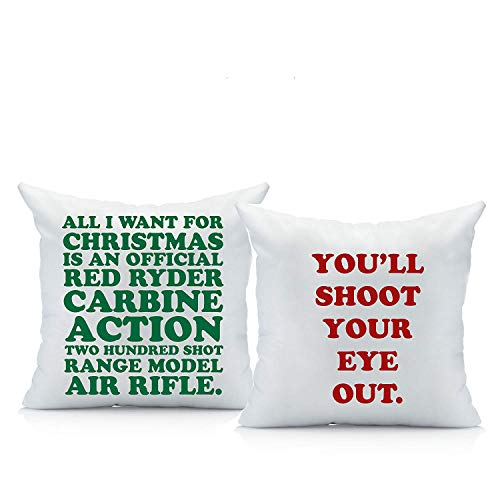 Oh, Susannah Christmas Story Throw Pillow Cover Set (Two 18 by 18 Inch Pillow Cover) A Christmas Story Decorations Gifts