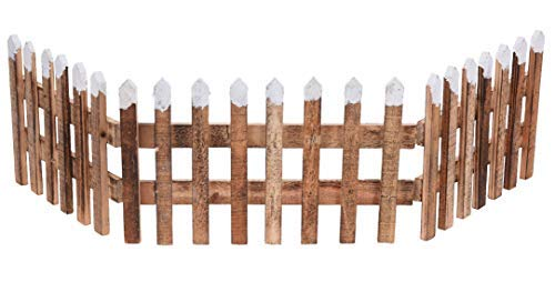 Spetebo Deko Holz Zaun 90x20 cm - Weihnachtsdeko Mini Gartenzaun Winter Gatter Minigarten