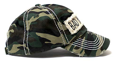 Women's Hat Bad Hair Day Embroidery Patch on Distressed Cap