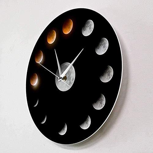 Serie de Eclipse Lunar Total Fase Lunar Super Luna Cuerpo Celeste Reloj de Pared Espacio Exterior Ciclo Lunar Decoración del hogar Reloj de Pared silencioso-30X30Cm